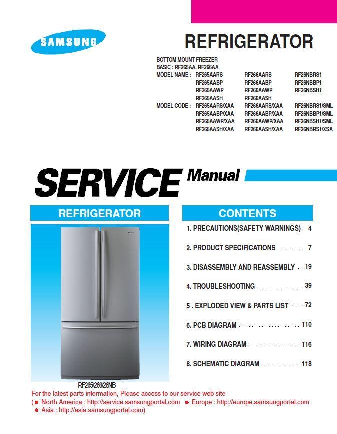 Samsung Rf266aars Rf266aawp Rf266aabp Rf266aash Refrigerator Service