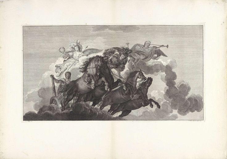 Bernard Picart | Hercules stijgt in een rijtuig op naar de Olympus, Bernard Picart, 1719 | Onder begeleiding van Minerva stijgt Hercules in een wagen, getrokken door vier paarden, op naar de Olympus. Op de wolken zitten Victoria, met een lauwerkrans voor de held, en Faam, die de loftrompet blaast. Prent maakt deel uit van een serie prenten, die samen het geschilderde plafond met de Apotheose van Hercules in het Hôtel Lambert te Parijs voorstellen.