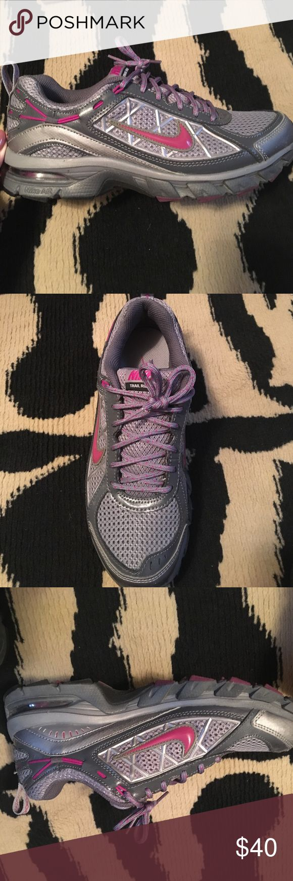 Nike Trail Ridge Sneakers These gray and magenta Nike sneakers are a steal!Gently worn once from a smoke free home. Nike Shoes Sneakers