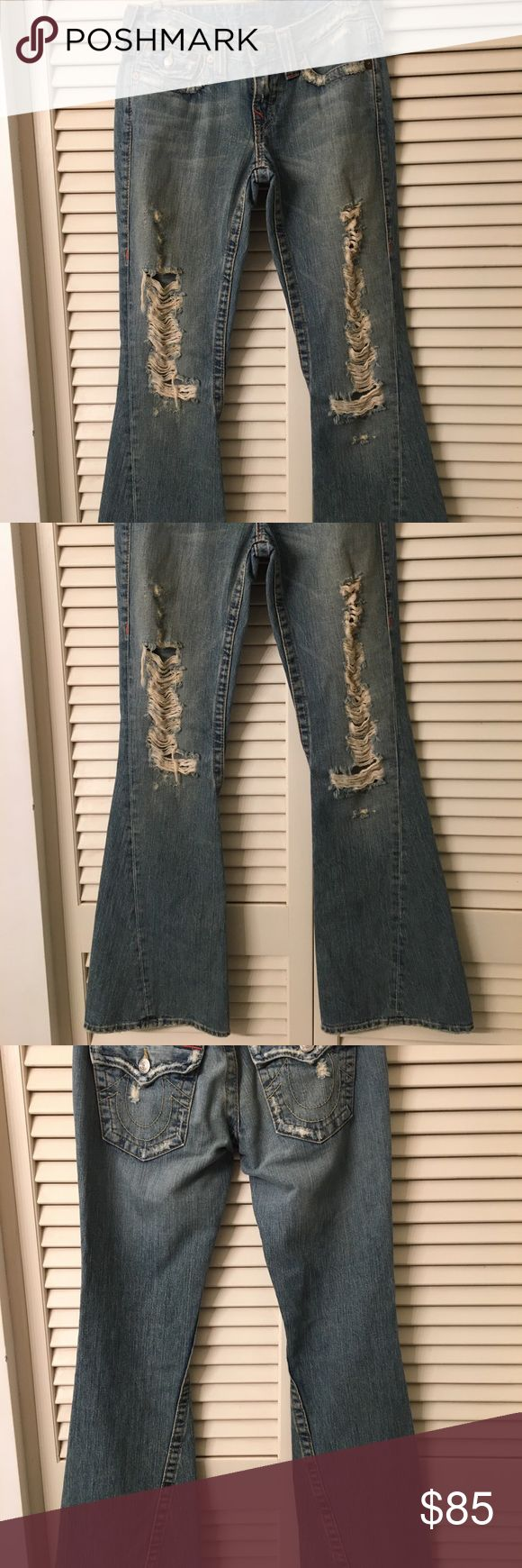 True Religion Distressed Bell Cut These will be your favorite jeans ever. In perfect condition. Like new. Cut number 602887 Style number 04-503 Amazing price for these babies! True Religion Jeans Flare & Wide Leg