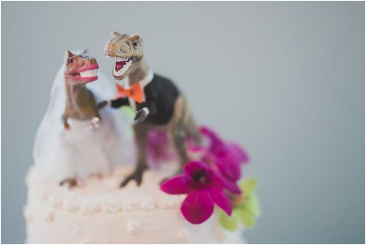Creative Funny Unique Dinosaur Wedding Cake Topper