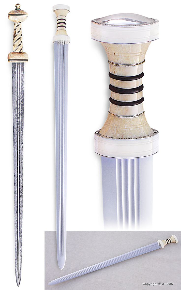 """""""Two Roman period spatha-cavalry swords: The patinated sword has a pattern welded blade and hilt made of antler. The other sword has blade forged of springsteel, hilt is made of walrus ivory and silver."""" kp-art.fi"""