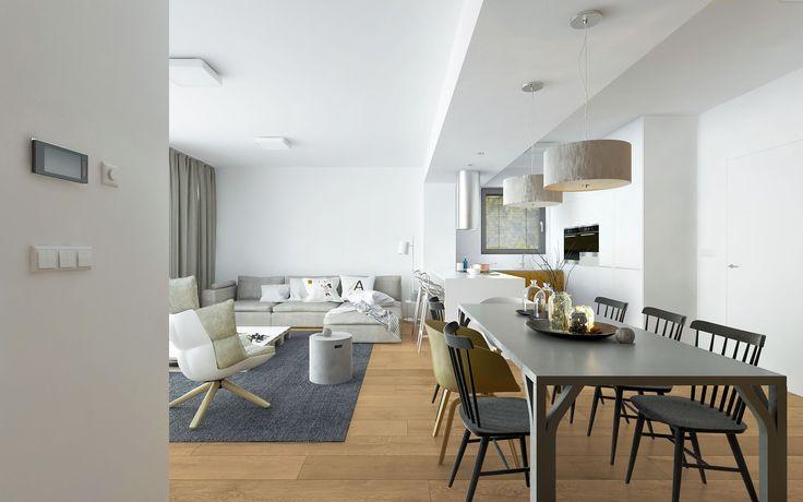 Presvetlený minimalistický interiér