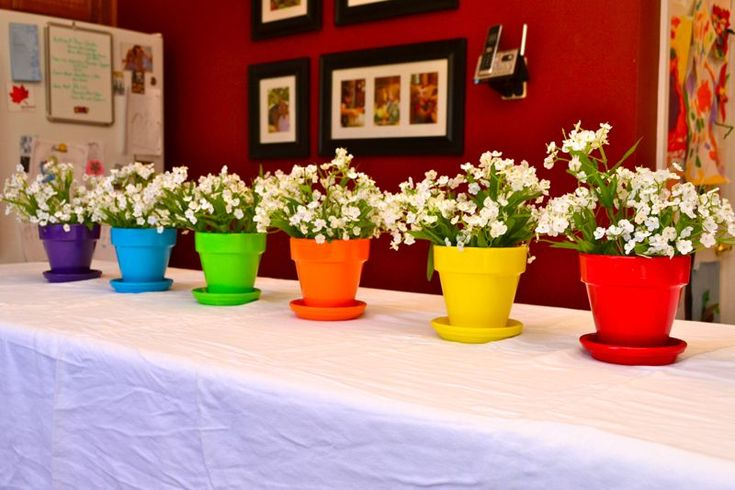 Centerpiece for my daughter's Rainbow Art Party.