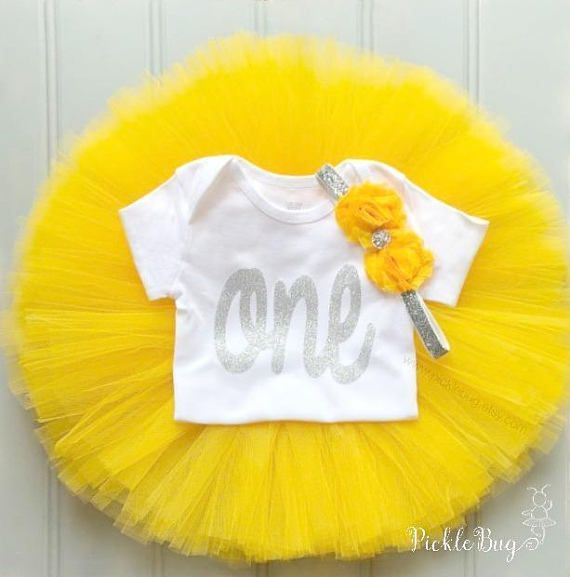 Yellow Baby Top Birthday girl Outfit Girl Cake Smash White tutu Baby girl clothes . EASTER Outfit Baby Headband 3 PIECES