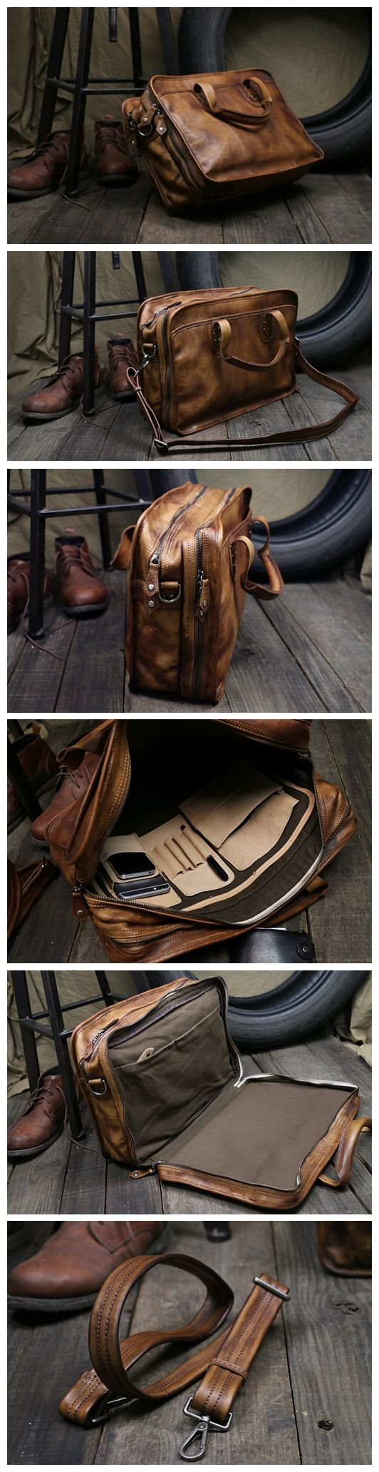 Handmade Brown Leather Briefcase Men's Messenger Bag 15'' Laptop Bag NZ01