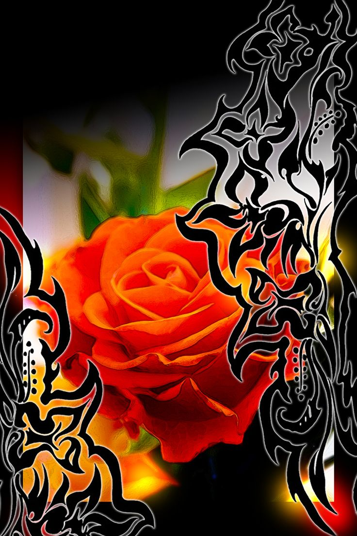 Gothic card - gootti ruusu