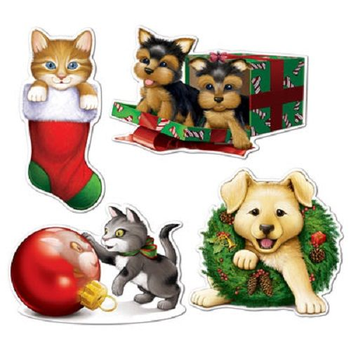 "Christmas Puppy & Kitten Cutouts 13""-16½"", Christmas Puppy Kitten Cutout is made of high quality material and has an elegant print on both sides. Buy online now"