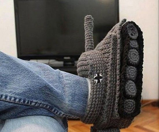 Mens Tank Slippers Crochet Pattern