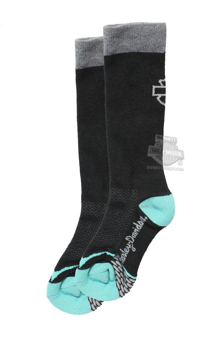 Harley-Davidson® Womens Coolmax® Performance Rider Teal Poly Blend Socks 89067570-317
