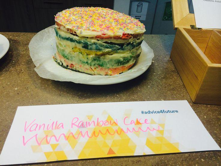 Rainbow vanilla cake at the London office 75th party