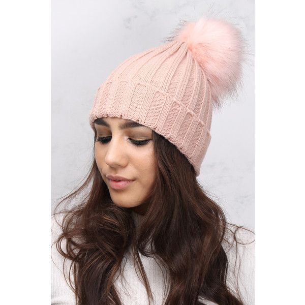 Rare Blush Pink Single Pom Pom Hat ($13) ❤ liked on Polyvore featuring accessories, hats, pink hats, thick knit hat, pom pom hat, faux fur hat and fake fur hats
