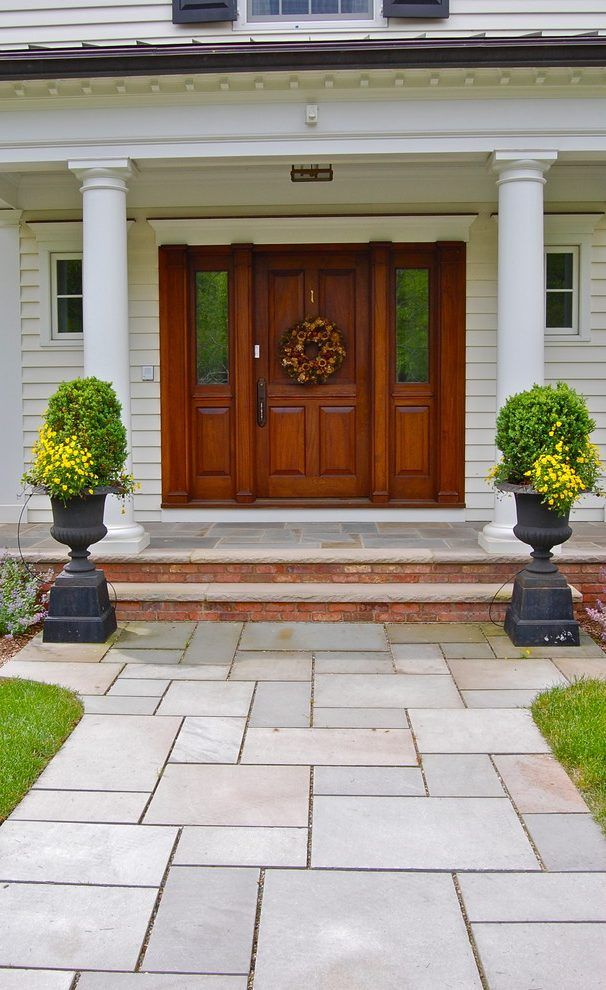 Front Porch Paver Ideas Entry Traditional With Stone Steps Front Yard Wreath Porch Design Front Door Design House With Porch
