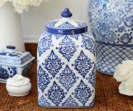 Melrose Blue & White Square Temple Jar