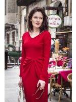 MIDI DRAPED RED BEAUTY - Rhea Costa-Shop