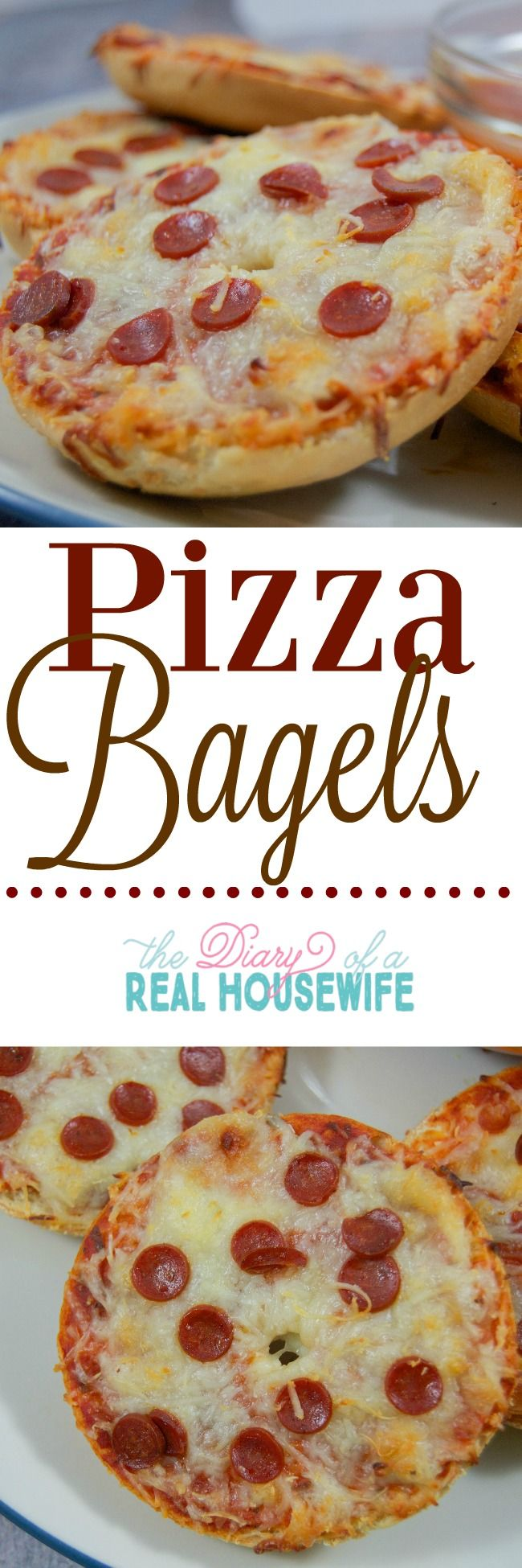 Yummy pizza bagels! My kids really loved this dinner recipe.                                                                                                                                                                                 More