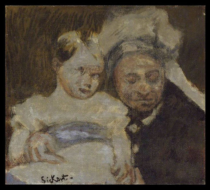 Queen Victoria and her great-grandson (c.1936) by Walter Richard Sickert. The picture actually shows Victoria's grandson and was probably painted from a cropped photograph of 1885 published in The Star newspaper in 1936. It is one of many works made by Sickert that he referred to as 'echoes' – paintings that he created between 1927 and 1942 in which he reproduced scenes found in Victorian photographs and press cuttings.