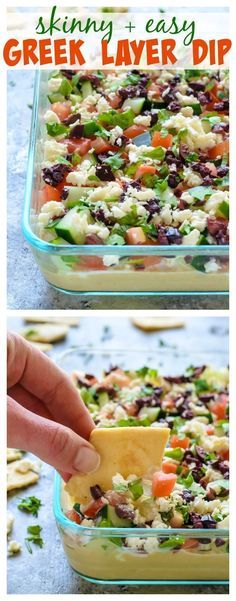 Skinny Greek Layer Dip. Perfect appetizer or snack! Bring this to your next party! Great football game recipe for the Super Bowl too!