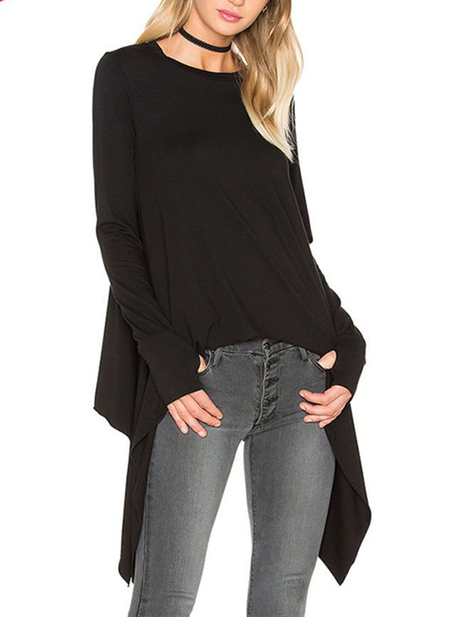 Specifications            Product Name:    Asymmetric Hem Plain Round Neck Long Sleeve T-Shirt          Weight:    210(g)          Sleeve:    Long Sleeve          Embellishment:    Asymmetric Hem          Occasion:       Casual  /  Street             Material:    Viscose          Pattern Type:    Plain          Collar&neckline:    Round Neck             Size chart as a reference:                                     Sleeve Length    Bust                s       Inch  cm                22  57…