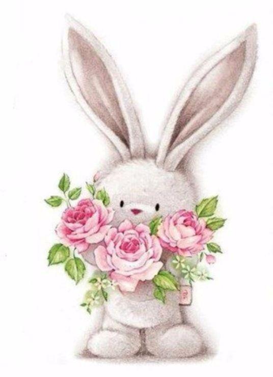 бэннинг открытка заяц с букетом цветов много сообщений