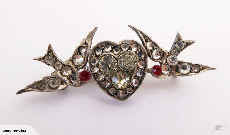 Victorian french paste lovebirds brooch