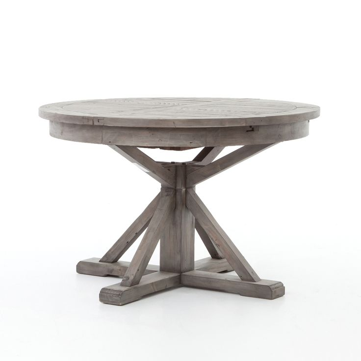 Cintra Reclaimed Wood Expandable Round Kitchen Table 47 Gray Round Kitchen Hgtv And Rounding