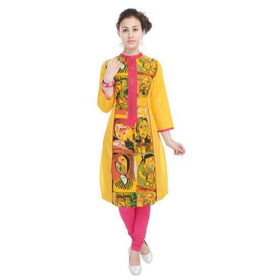 LadyIndia.com # Cotton Kurti, Designer Printed Cotton Yellow Kurti For Women, Kurtis, Kurtas, Cotton Kurti, https://ladyindia.com/collections/ethnic-wear/products/designer-printed-cotton-yellow-kurti-for-women