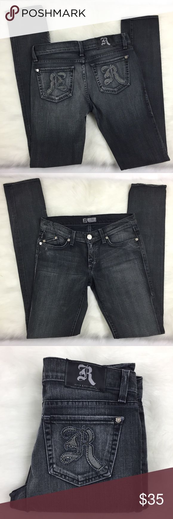 """Rock & Republic Jeans Berlin Slim Straight Rock & Republic Womens Jeans Berlin Slim Straight Skinny Dark Gray Size 27 Bling  Zip fly with button closure Condition: Excellent Used Condition Size Tag: 27 Measurements: Waist: 15"""" Rise: 8"""" Inseam: 35""""  Please follow me for more great items and sweet deals! Rock & Republic Jeans Straight Leg"""