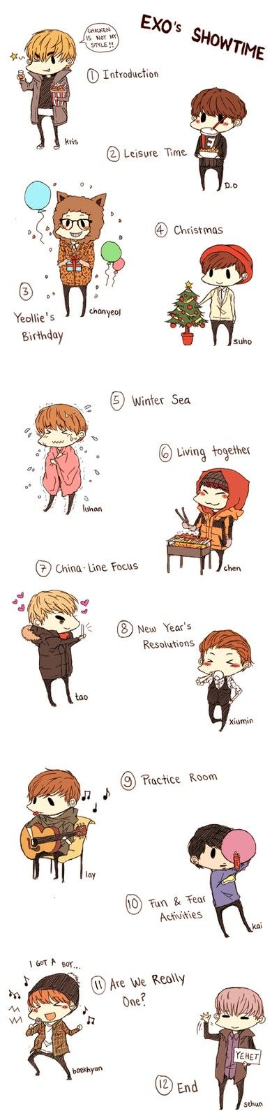 AWWWWWWE fan art of EXO'S SHOWTIME!
