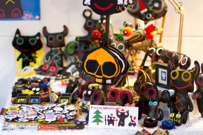 Handmade Spooky Trash Monster Dolls and Pins