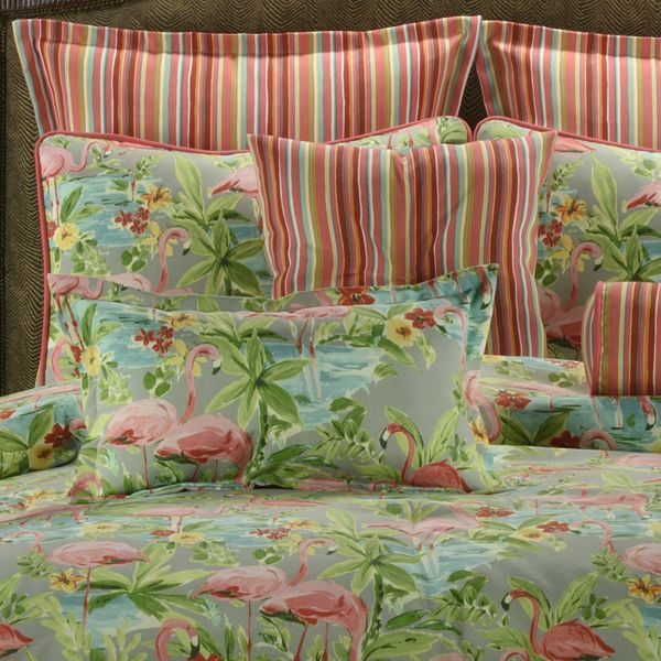 Delectably-Yours.com Pink Flamingos Tropical Bedding Comforter or Duvet Bed Set by Victor Mill