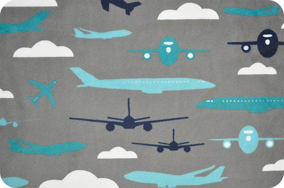 Minky aviator teal airplane fabric shannon fabrics for Airplane fabric by the yard