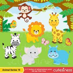 Jungle Animal Clipart , Baby Animals Clipart, Safari Clipart , Zoo Clipart, animal clipart by Cutesiness on Etsy https://www.etsy.com/uk/listing/199642534/jungle-animal-clipart-baby-animals