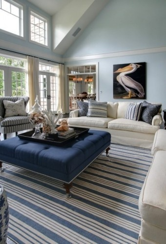 Transitional Living Room With Coastal Vibe And Blue: Lovely Blue Colors & Beach Vibe!