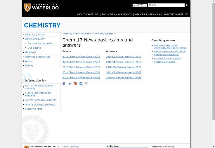 AP Chem Exam Q's: Chem 13 News past exams and answers   Chemistry
