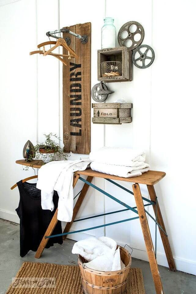 34 Farmhouse Laundry Room Ideas To Organize Your Laundry With Charm Diy Laundry Room Makeover Laundry Room Furniture Ideas Laundry Room Decor