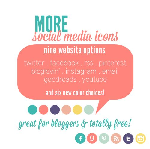 Ask and you shall receive, my friends. I had a couple of blogger comment and ask if I could make a Instagram and Bloglovin' icon as well…so I did! Each set includes all the websites lis…