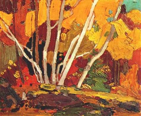 Tom Thompson painting of Autumn Birches
