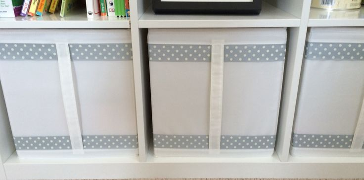 Decorating ikea storage bins with ribbon