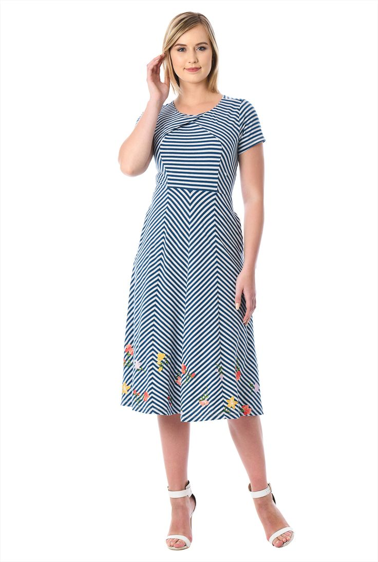 Floral embellished pieced stripe jersey knit dress - eShakti