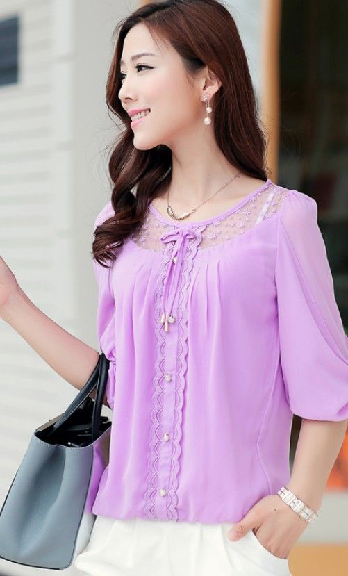 2015 chiffon blouses, summer blouses, new blouses, sweet blouses, chiffon gilrs shirt, cute chiffon tops, korean chiffon tops, asian style chiffon tops, pearl buttons chiffon top, YRB fashion, YLY
