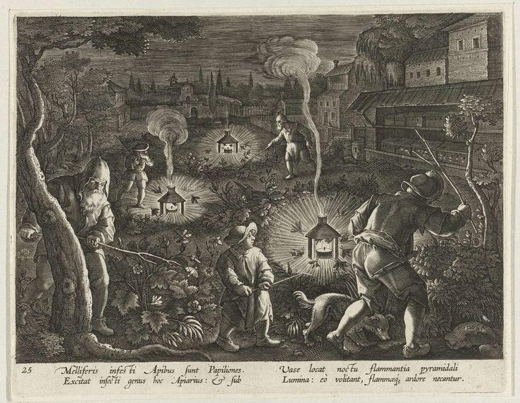 C. Galle | Jacht op nachtvlinders, C. Galle, Philips Galle, Cornelis Kiliaan, 1594 - 1598 | Op een veld slaan enkele mannen met takken in de struiken om nachtvlinders te vinden. Omwille van het licht vliegen deze nachtvlinders naar brandende kaarsen. Eenmaal in de nabijheid van de kaars sterven ze door de hitte. De motten zijn een plaag voor honingbijen. Ze worden daarom door de imkers opgejaagd in de nacht. De prent heeft een Latijns onderschrift en is deel van een serie over…