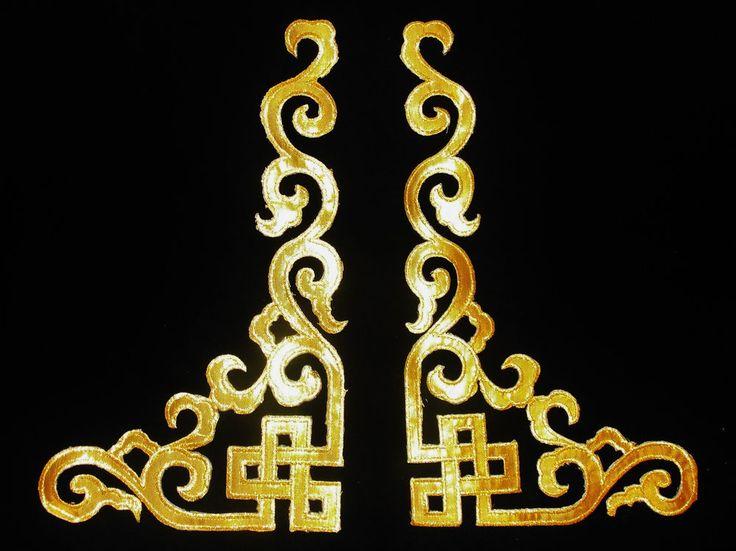 Customising velvet dress - gold motif