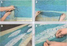 Описание валяния шарфа с кружевом, рис. 1-4