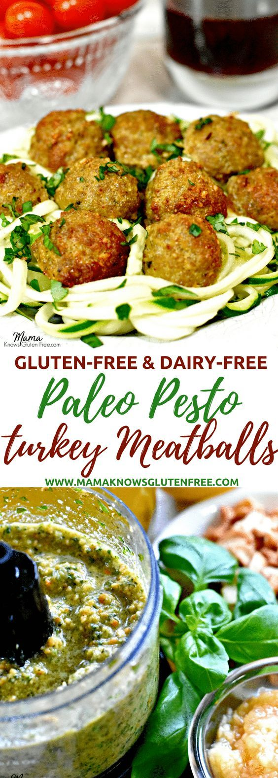 Paleo pesto turkey meatballs are so tender and juicy. They are bursting with flavor from the homemade dairy-free basil pesto sauce. Gluten-free, dairy-free, low carb www.mamaknowsglutenfree #Paleo #glutenfree #dairyfree #turkeymeatballs