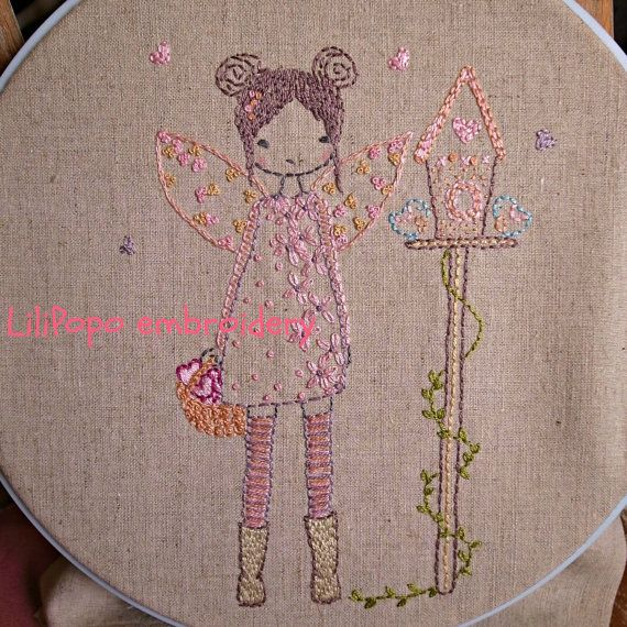 Bird house fairy hand embroidery pattern pdf by LiliPopo on Etsy