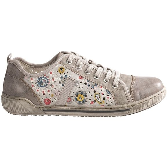 NWT - Rieker Anti-Stress Judith fashion sneaker NWT - Tan leather and fabric Rieker sneakers with floral design.  Fun and chic for spring and summer!  Made in Morocco! Rieker  Shoes Sneakers