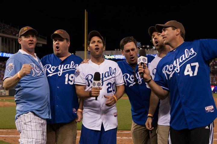 Paul Rudd, Jon Hamm, Jason Sudeikis, Rob Riggle, David Koechner, and Eric Stonestreet sing the 7th Inning Stretch in Kansas City