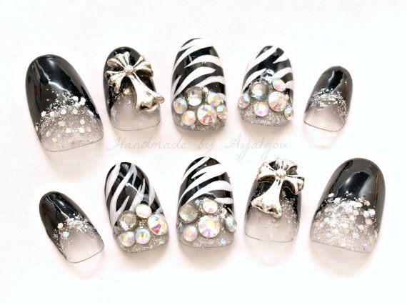 Gyaru Japanese nail art acrylic nails black and white by Aya1gou, $23.00