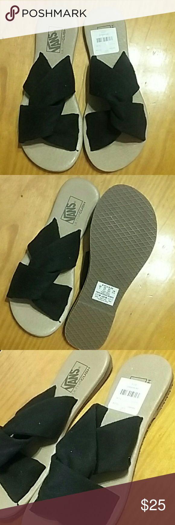 VANS Black Suede Slides Womans VANS #offthewall Ayla Black Suede Slide Twist Design. Size 5 Brand New/Never Worn Box is damaged. Will send if you would like it. Price is FIRM. Bundle & Save Vans Shoes Sandals